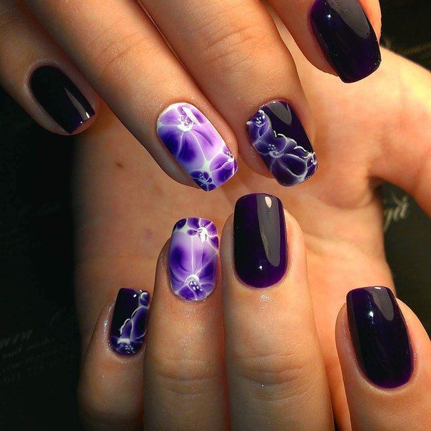 Матовые фиолетовые ногти дизайн 2