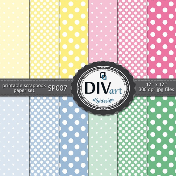 DotsPrintables Scrapbook Paper, Sets Sp007, Blue Green, Baby Colors, Pink Blue, Paper Sets, Baby Shower