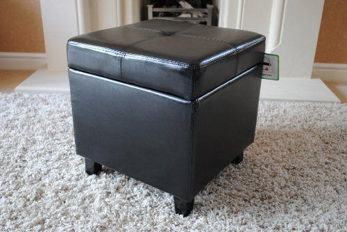 Black Genuine Real Leather Storage Footstool Pouffe NEW