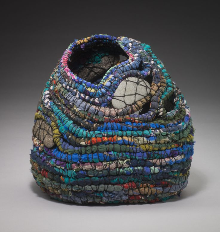 """I create my """"Spirit Women"""" by adapting the ancient technique of coiling, using compressed strips of recycled silk, cotton, linen, and plastic bags. I leave the cores exposed, allowing the material..."""