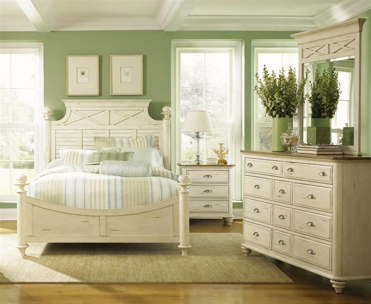 Calming relaxing peaceful Bedroom color palette.  Sage green, ivory, white.