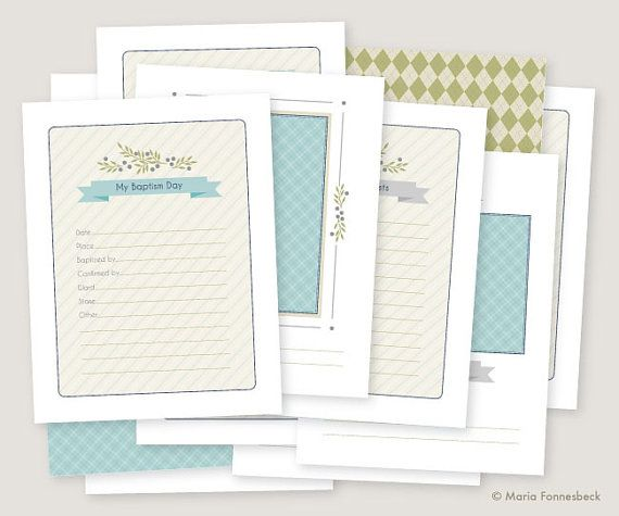 LDS Baptism Memory Book Boy Printables: Instant PDF Download - 8.5x11 size