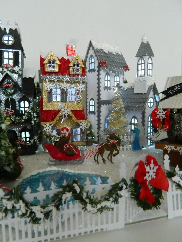All mine designs, Christmas 2016, by Sharon Smith, Tim Holtz inspire, all dwelling dies used, paper houses.