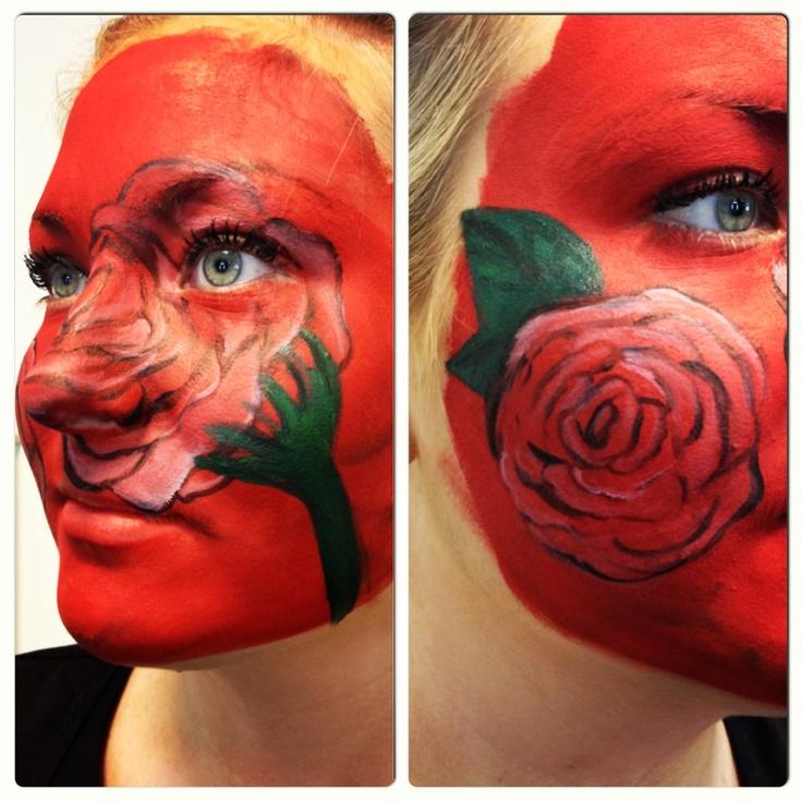 Red roses; body art