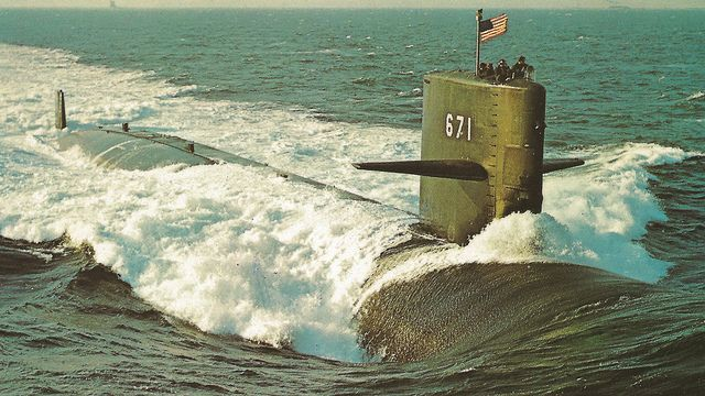 USS NARWAL SOMEWHAT EXPERMENTAL STUREGON CLASS ATTACK SUBMARINE US Navy Nuclear Submarine SSN-671 at Sea Antique Postcard 1412