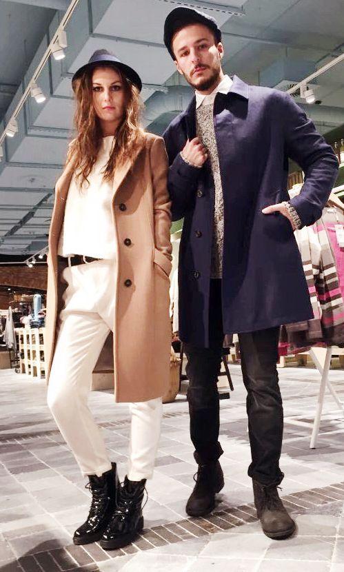 Outfit der Woche! Karina: Comfort Fit Hose: Hugo Boss – Feinstrickpullover mit Kaschmir: Closed – Wollmix-Mantel: Marc O'Polo // Eduard: dunkelgraue Jeans: Tommy Hilfiger – graumelierter Grobstrickpullover: Marc O'Polo – Kurzmantel mit verdeckter Knopfleiste: Diesel #ootw #fashion