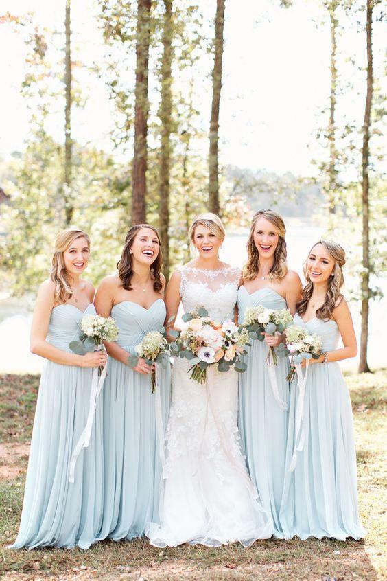 Pale blue bridesmaid dresses / http://www.himisspuff.com/bridesmaid-dress-ideas/10/