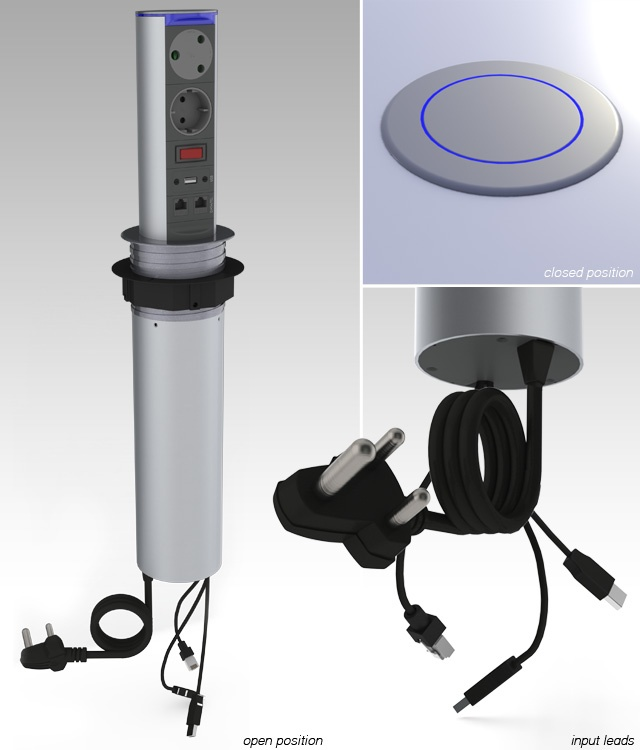 The SOHO Mk2 is a second generation power tower that features both power and voice/data connection ideal for any house or office environment. It can neatly be popped down when not in use and has a blue illuminated ring to indicate power and add to the sleek design.