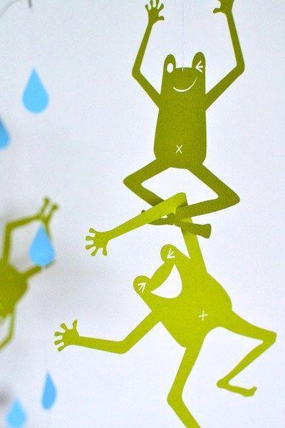 無料 モビール 型紙 無料 : Funny Frogs for Kids