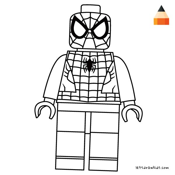 Coloring Page For Kids - How To Draw LEGO Spiderman