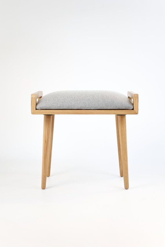 Stool / Seat / stool / Ottoman / bench made of solid oak table, oak legs, upholstered in cold wool gray