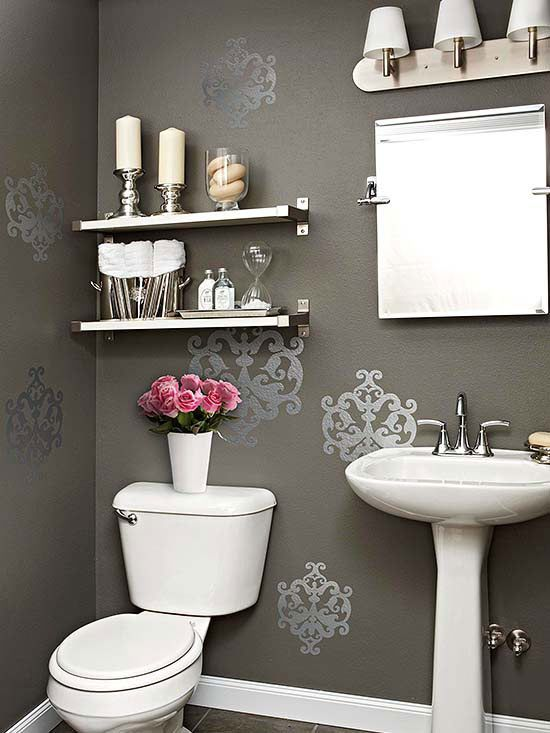 Shimmer and Shine Put a little zing in your powder room with wall decals. Easy to apply and affordable, these pockets of pattern give this bathroom just the right amount of shimmer....I've also seen this done with a stencil and paint