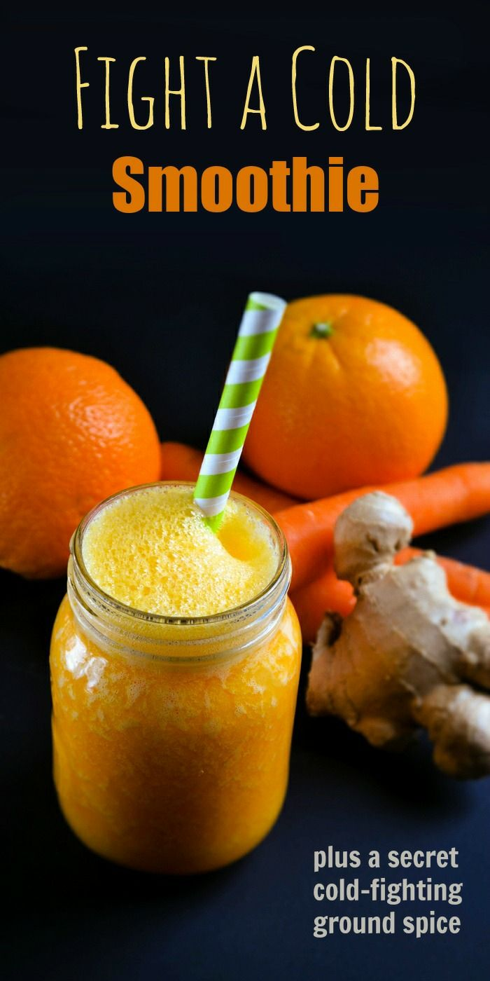 Fight a Cold Smoothie - A healthy smoothie full of antioxidants, vitamins and minerals to help fight the common cold. A delicious fruity drink with a bit of a kick from the ginger and turmeric.