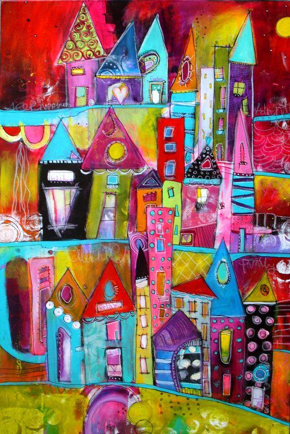 Colorido y audaz Funky City Scape acrílico pintura 24 x por JodiOhl
