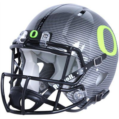 Ducks Football Helmet; kinda odd it's made by Riddell; not Nike - does Nike pay for all design changes week-in-week out?