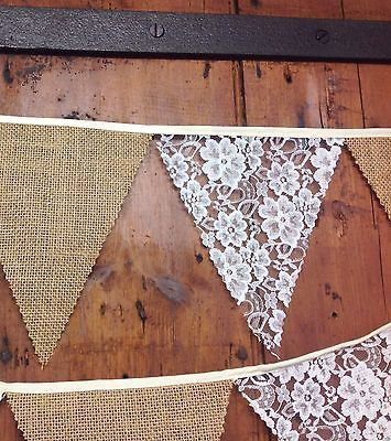 Rustic Jute Hessian Burlap Lace Bunting Sold by The Metre Wedding Decoration | eBay