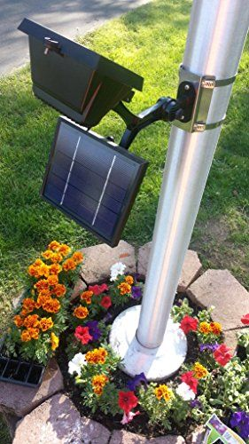Valley Forge Flag CSFPL-8 Commercial LED Solar Flagpole Light  The commercial led solar flagpole light has 8 ultra-bright 10mm led light bulbs that produce a powerful 280 lux of adjustable light. It has an improved 3.7 Volt, 3600mah battery kept fully charged by the 6 volt 600 mAh solar panel. This light will fit any pole 2 inches thru 6 inches or it can be mounted to any flat surface by simply removing the pole clamping assembly. The solar panel, light head and bracket tree are all ..