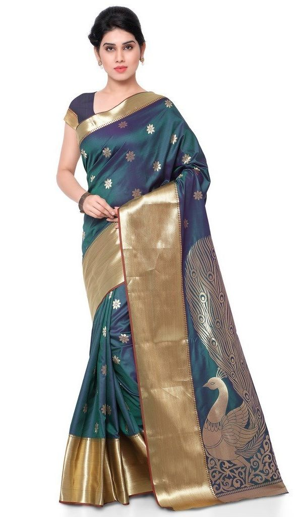 Buy Green Color Silk Saree | Exclusive big Peacock Pallu Paithani Theam Silk…