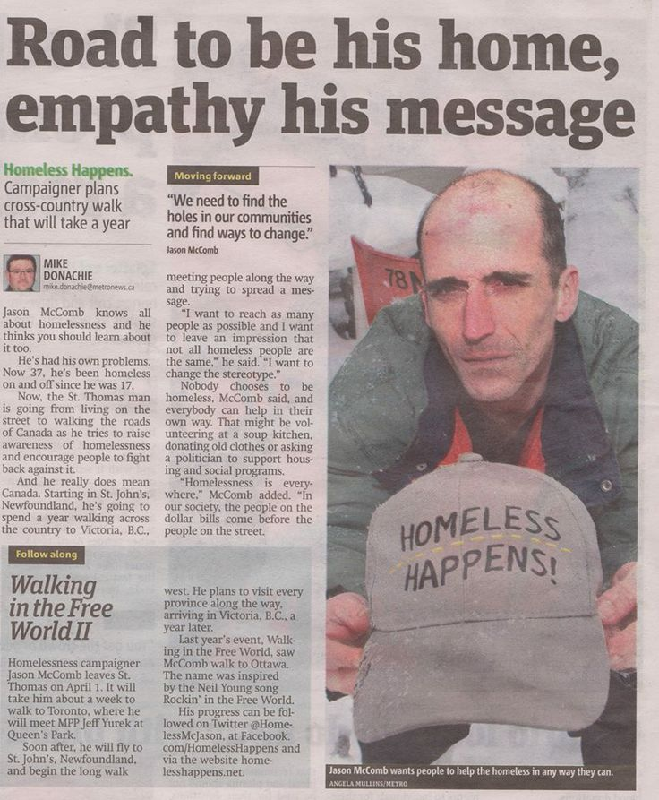 this is my good friend Jason and he is trying to make a differance by soing something not just complaining, please support him as he walks across Canada to raise awareness of Homelessness and the issues around it....love you Jason Article by Metro London newspaper about my walk all through and across Canada