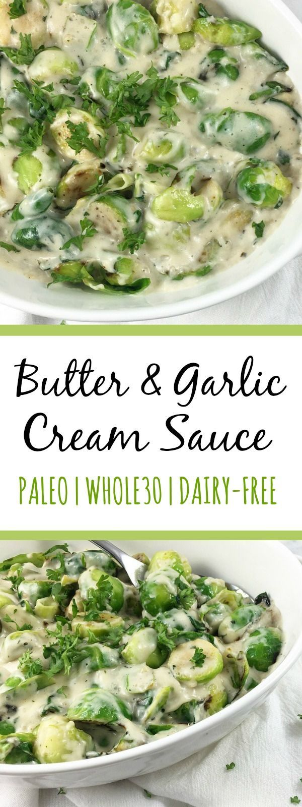 "This dairy free cream sauce has the best butter and garlic flavor for a variety of uses. It's a Whole30 sauce that can be used in paleo ""pasta"" meals, chicken recipes, creamed vegetable side dishes, the options are endless for this paleo sauce! #paleocreamsauce #whole30vegetables #whole30sauce #dairyfreecreamsauce"