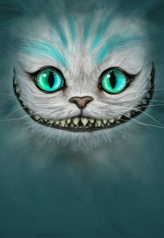 cheshire cat, tim burton, alice, wonderland, movie, 2010, painting, manipulation, animal, fur, hair, eyes, blue, turqouise, mad hatter, rabbit, michael kutsche, concept, art, blue, night, dark, smile, grin, teeth, tooth, cute, scary, lewis carroll, caterp…