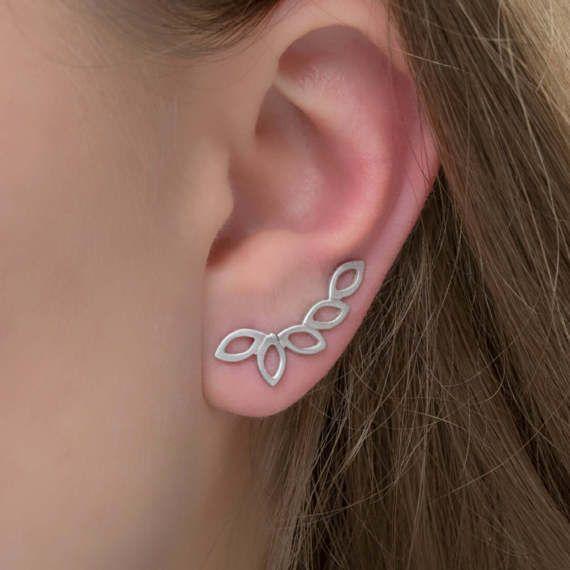 Ζεύγος φύλλα ελιάς, ασήμι ορειβάτες αυτί σκουλαρίκια, σκουλαρίκια Έμπνευση, υποαλλεργικό σκουλαρίκια, μοντέρνα σκουλαρίκια, χειροπέδες αυτί