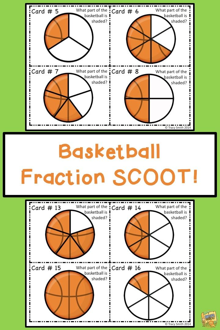 Fraction Basketball Task Cards Grades 1 3 Use In A Center With The Whole Class Or In A Game Of Scoot Directions Task Cards Fractions Elementary Math Math