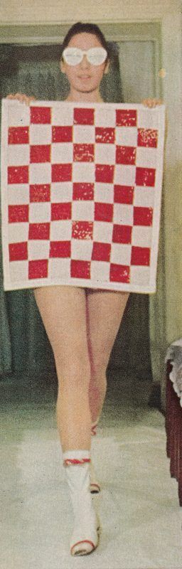 """sun suit with auto racing flag of sequins © André Courrèges, photographed by Pierre Boulat, """"Life"""", May 21, 1965"""