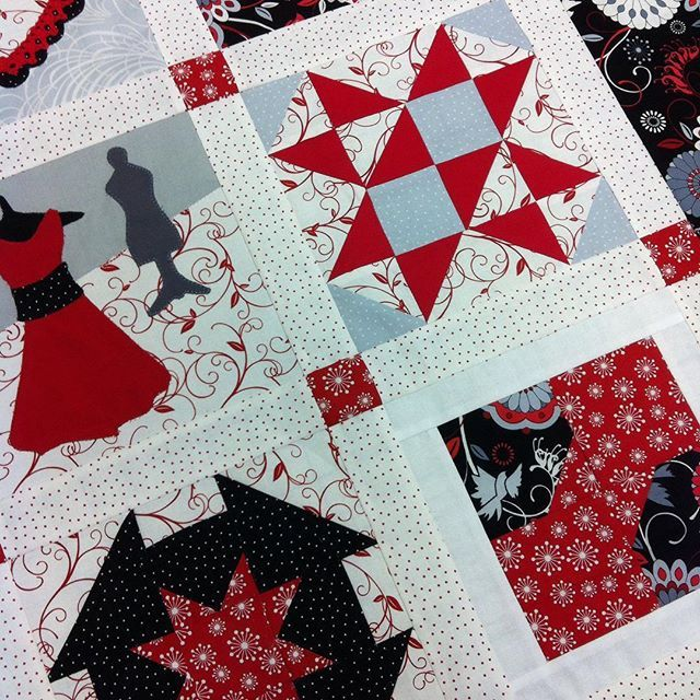 Here's a sneak peek of the quilt for the Western Washington Quilt Shop Hop for 2016! The fabrics were designed by us and @clothworks and are red, black, gray and white for women's heart health. #westernwashingtonshophop #americanheartassociation #hearthealth
