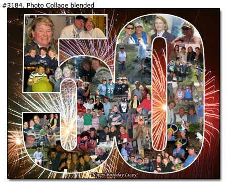This is a super cute idea I found here on www.photoartomation.com. I fell in love with it and had to make it for my moms 60th birthday. She loved it. 50th Birthday Photo Collage ♦ http://www.photoartomation.com/Photo_Collage.htm