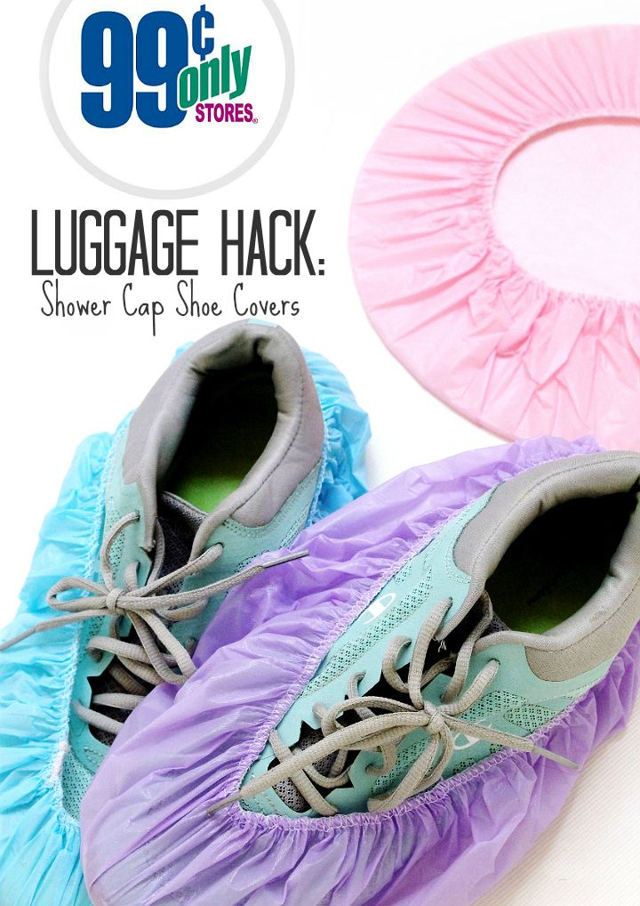 Use shower caps to pack and store dirty shoes while traveling. #99YourSummer with these simple Summer Vacation Hacks that'll save you dollars and headaches! #DoingThe99