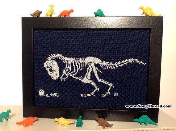 PATTERN T-rex dinosaur dino skeleton fossil cat cute counted cross stitch