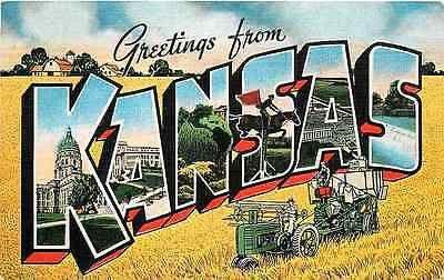Kansas KS 1940s Large Letter Greetings from Kansas Antique Vintage Postcard