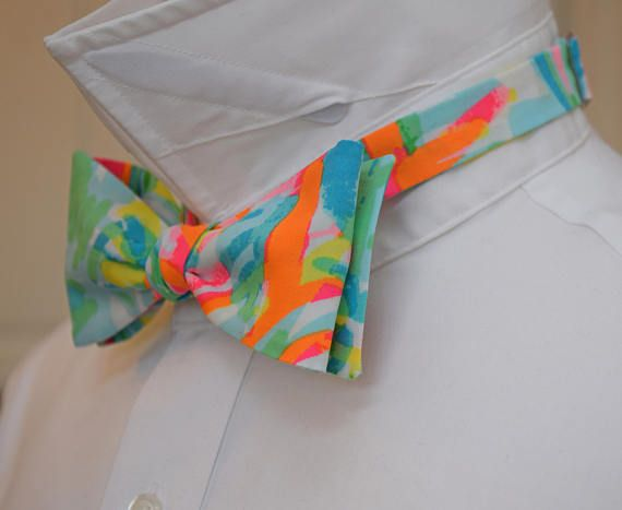 Mens Bow Tie, Sea Salt & Sun aqua/orange Lilly print, groomsmen/groom/prom bow tie, wedding bow tie, Carolina Cup/Kentucky Derby bow tie Bright Sea Salt & Sun print in shades of aqua, green, orange and pink blend together for an abstract and eye catching look. Complement your significant