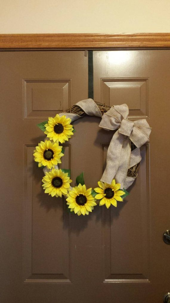 Fall wreath.  Fall Door hanger.  Sunflower wreath.  Sunflower decor.    Hey, I found this really awesome Etsy listing at https://www.etsy.com/listing/244289595/sunflower-burlap-wreath-fall-wreath-with