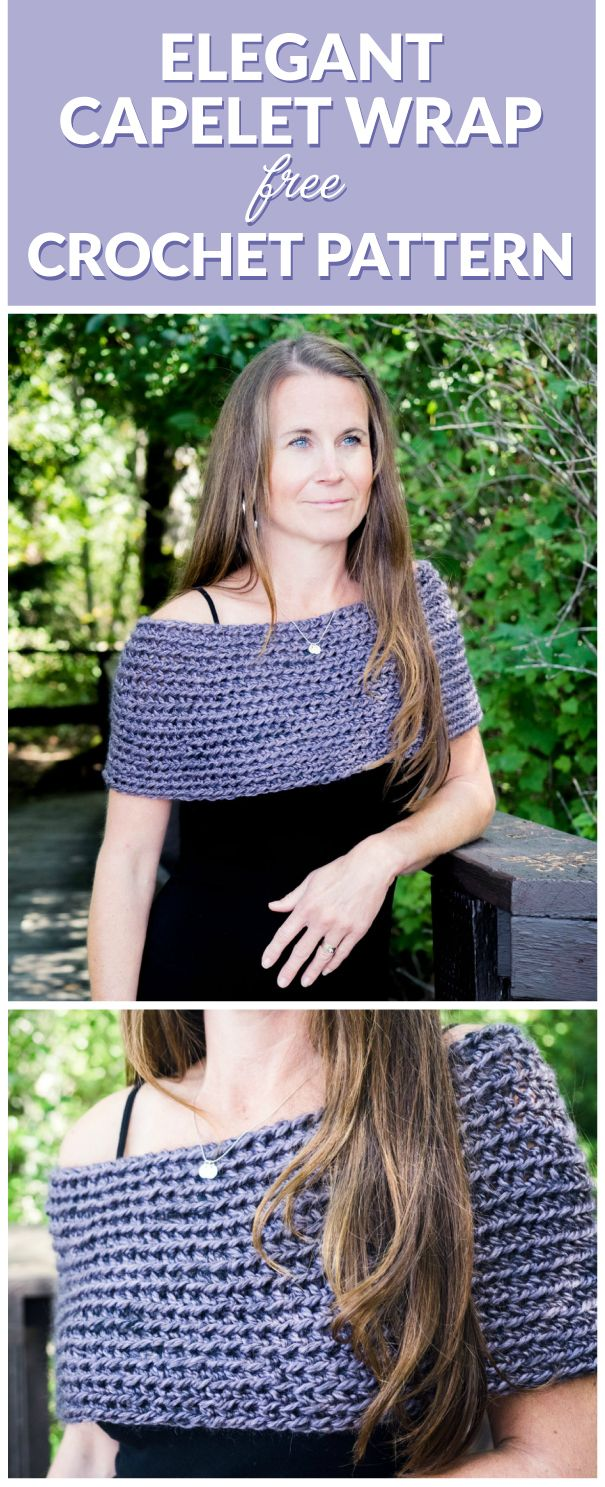 Elegant Capelet Wrap Crochet Free Pattern. Both elegant and minimalist, this crochet wrap pattern is the perfect accessory - quick and easy to make, even for beginners. Click to get this free crochet pattern.
