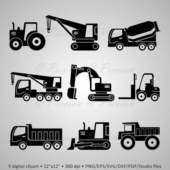 Buy 2 Get 1 Free Digital Clipart Construction Machinery Etsy In 2020 Digital Clip Art Clip Art Digital