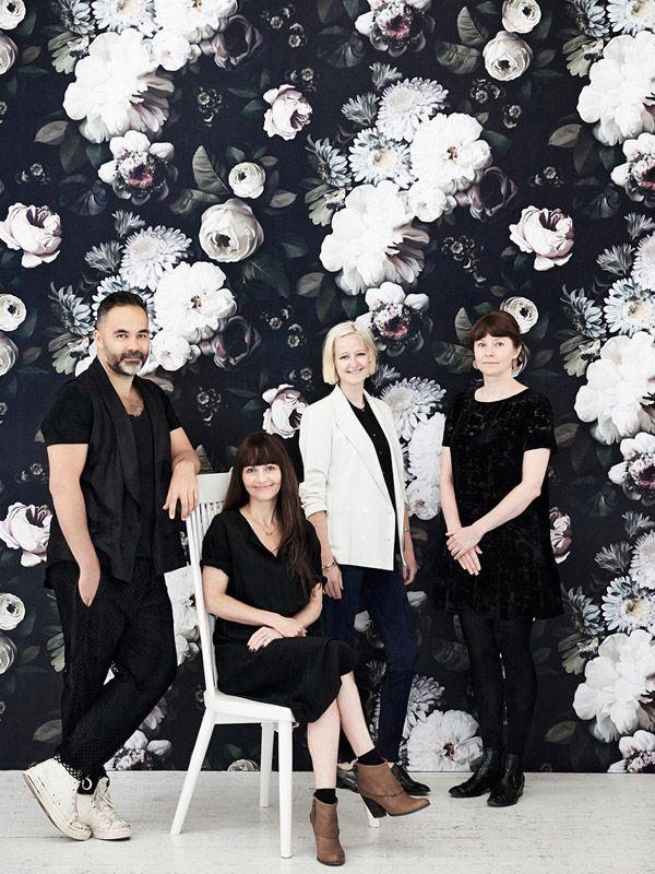The Team at The Establishment Studios 2014 : Glen Proebstel, Tamara Maynes, Rachael Hart & Carly Spooner (image Eve Wilson) (Dark Floral wallpaper by Ellie Cashman)