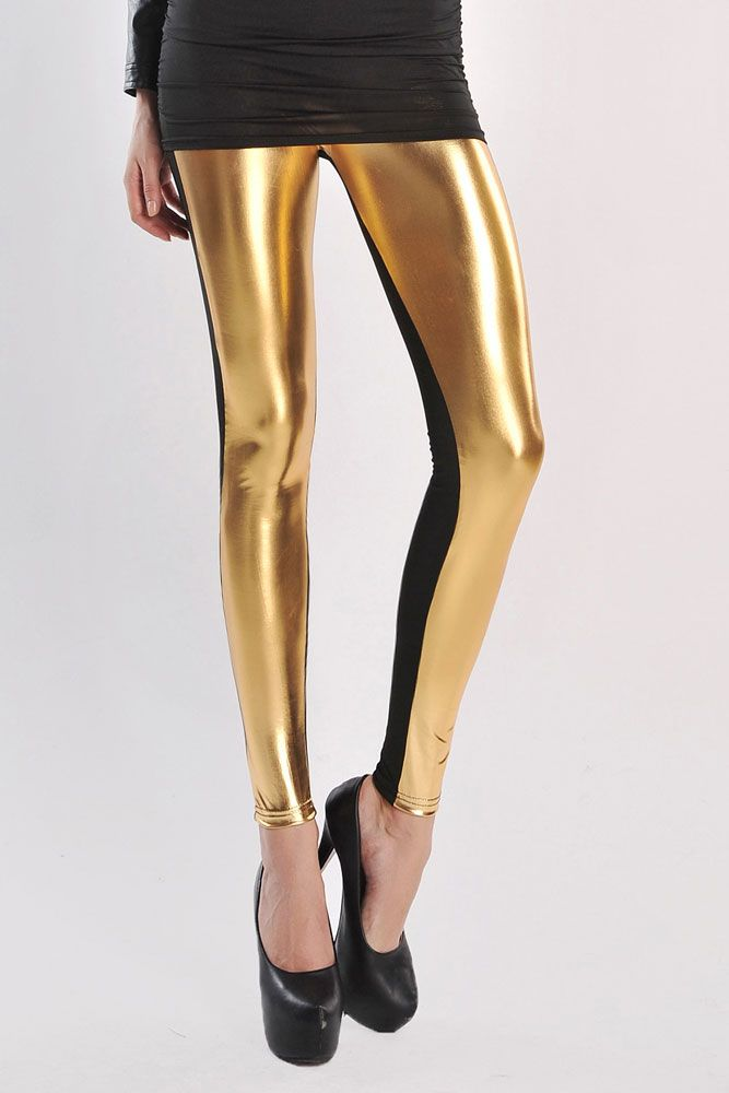 High Waist Metallic Leather Seamed Legging in Gold
