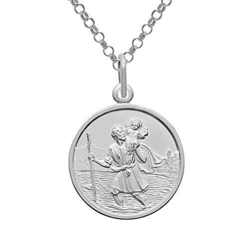 """925 Sterling Silver Saint St Christopher 20mm Pendant & Chain Necklace 18 to 30"""" inch High Quality & GIFT BOX--24.99"""