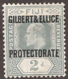 """Gilbert & Ellice Islands  1911 Scott 3 2p gray """"Gilbert & Ellice Protectorate"""" Stamps of Fiji overprinted"""