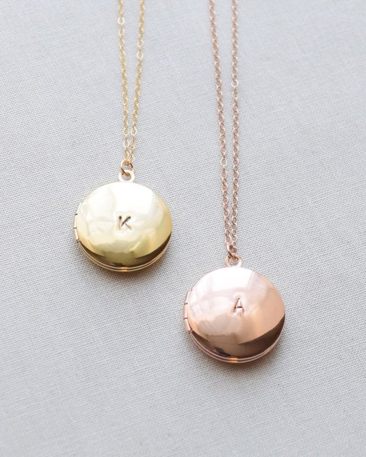 Classic round locket necklace can be initialed or left blank. Available in rose gold, gold and silver by Olive Yew.