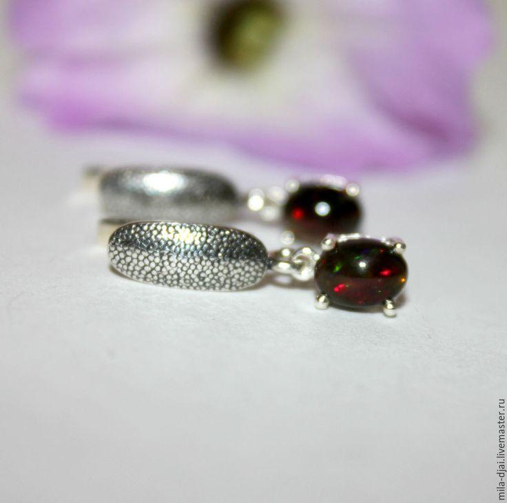 """Купить Серьги """"Черный блеск"""" опал в серебре - натуральные камни, серебро 925 пробы, разноцветный"""