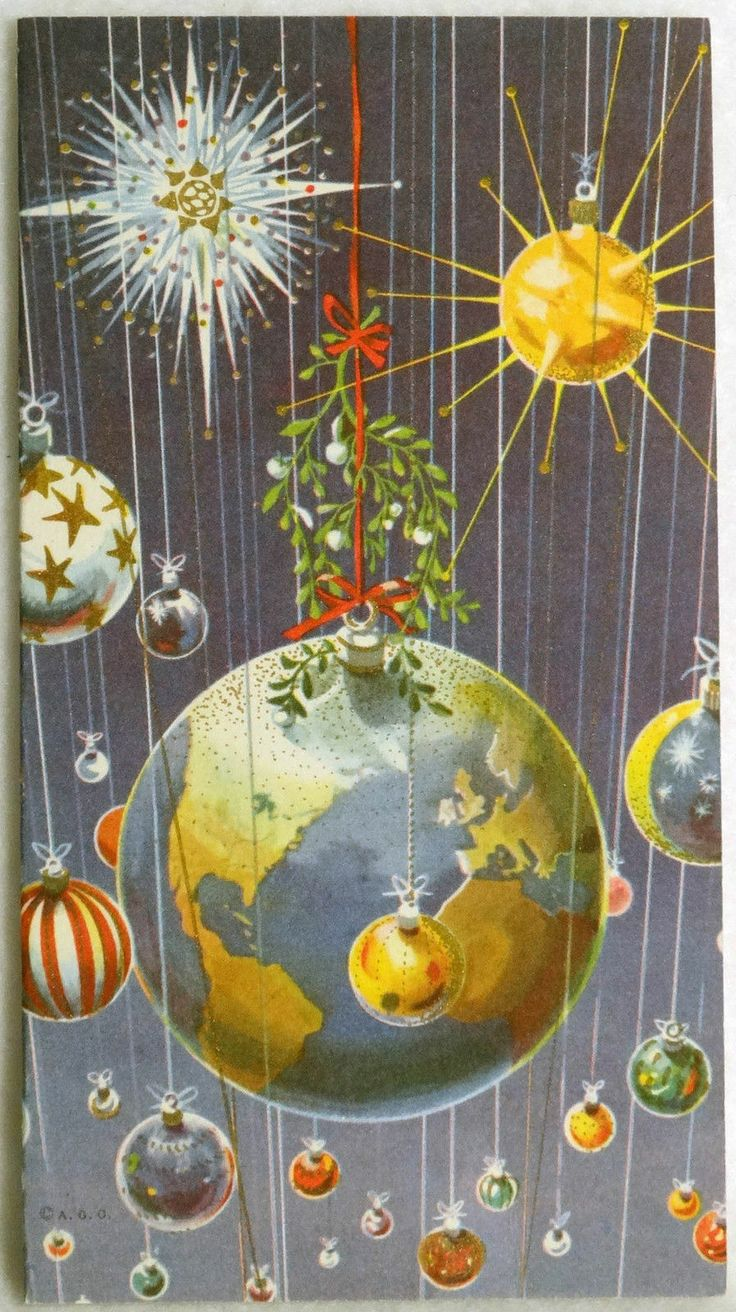 Sputnik christmas ornaments -  435 60s Mid Century Modern Planets Sputnik Vintage Christmas Greeting Card