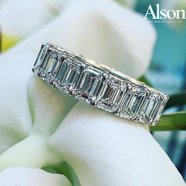 Stunning Emerald Cut Diamond Eternity Band.  Available at Alson Jewelers.