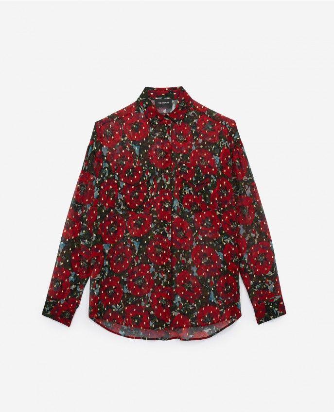 4db3e7d2e86 Silk muslin shirt with Giant Poppy print - Women WOMAN   GIFT FINDER ...