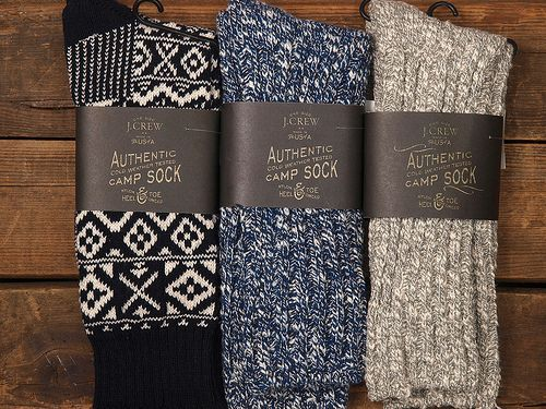 """J. Crew Camping Socks --if by """"camping socks"""" they mean """"sit by the fireplace and drink hot cocoa socks"""" then I'm golden"""
