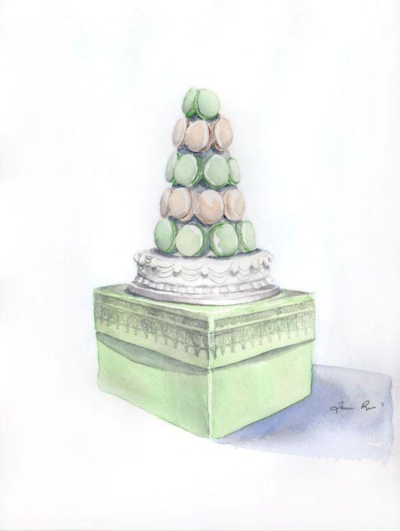 Laduree Macaron Dessert Tower - ORIGINAL Watercolor Painting 9 x 12