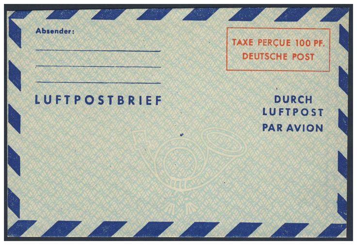 Germany, Bizone, Bizone 1948, 100 Pfg.-Luftpost-Leichtbrief, ungebraucht Pracht (Mi.-Nr.LF 1 II/Mi.EUR 150,--). Price Estimate (8/2016): 30 EUR.