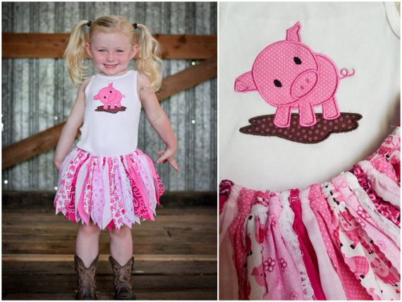 Infant to Child Sizes - Made to Order - Pink Piggy Scrap Tutu and Appliqué Shirt Set - Farm, Pig Birthday